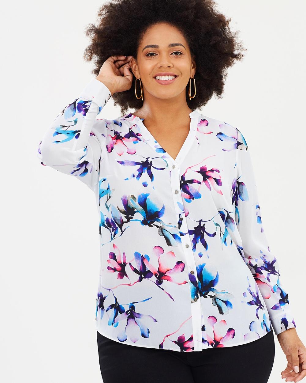 EVANS Floral Print V Neck Shirt Tops Print Floral Print V-Neck Shirt