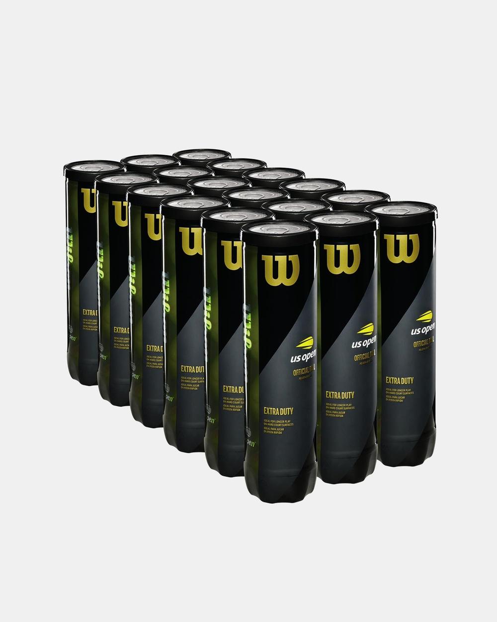 Wilson US Open XD Tennis 4 Ball 18 Can Case Training Equipment Yellow 4-Ball
