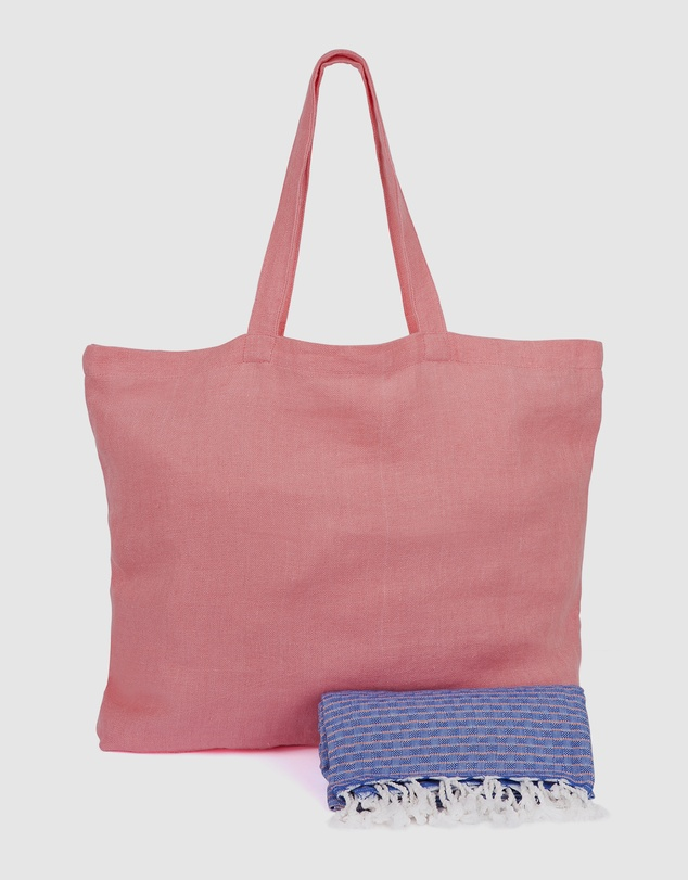 Life Coral Linen Tote  Palm Beach Denim & Coral Turkish Towel Gift Set