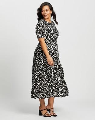 Atmos&Here Curvy Katie Midi Dress - Printed Dresses (Black Print)