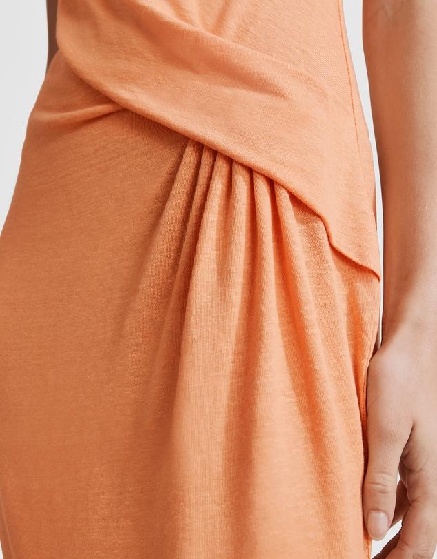 Women Linen Detail Midi Dress