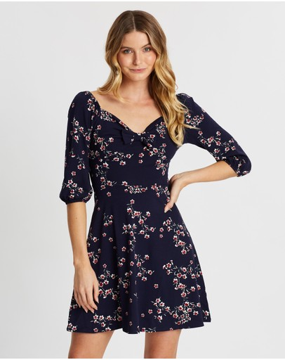 Dorothy Perkins 3/4 Sleeve Gypsy Tie Front Fit-and-flare Dress Navy Floral