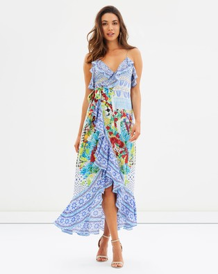 Camilla – Frill Dress with Long Back – Printed Dresses Masking Madness