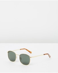 Le Specs - Neptune Gold Frame Round Sunglasses