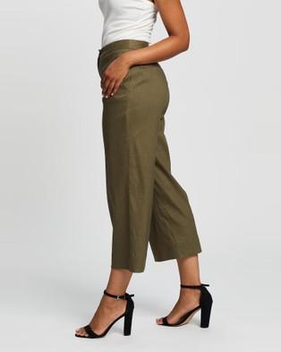 Marcs Eva Stretch Linen Wide Leg Pant - Pants (DARK OLIVE)