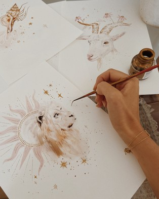 By Charlotte Leo Zodiac A4 Unframed Print - Home (White)