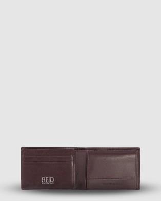 Cobb & Co Vinny RFID Bifold Tab Leather Wallet - Wallets (Burgundy)