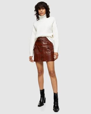 TOPSHOP PU Crocodile Button Through Mini Skirt - Skirts (Dark Brown)