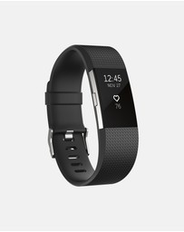 Fitbit - Fitbit Charge 2 Black Silver with Premium 65cm Fitness Ball