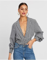 Missguided - Check Collared Shirred Top