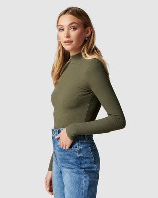 Forever New - Brandi High Neck Rib Long Sleeve Top - T-Shirts & Singlets (Olive) Brandi High Neck Rib Long Sleeve Top
