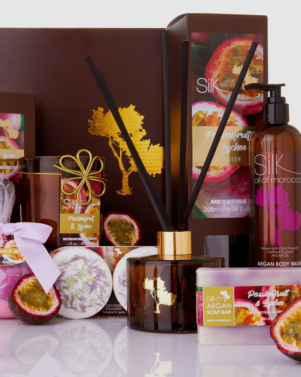 Silk Oil of Morocco Luxe Day Spa Collection Hamper Passion Fruit & Lychee Accessories Passion Lychee
