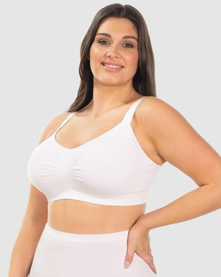 B Free Intimate Apparel Wire free Full Bust Bamboo Bra - Crop Tops (White)