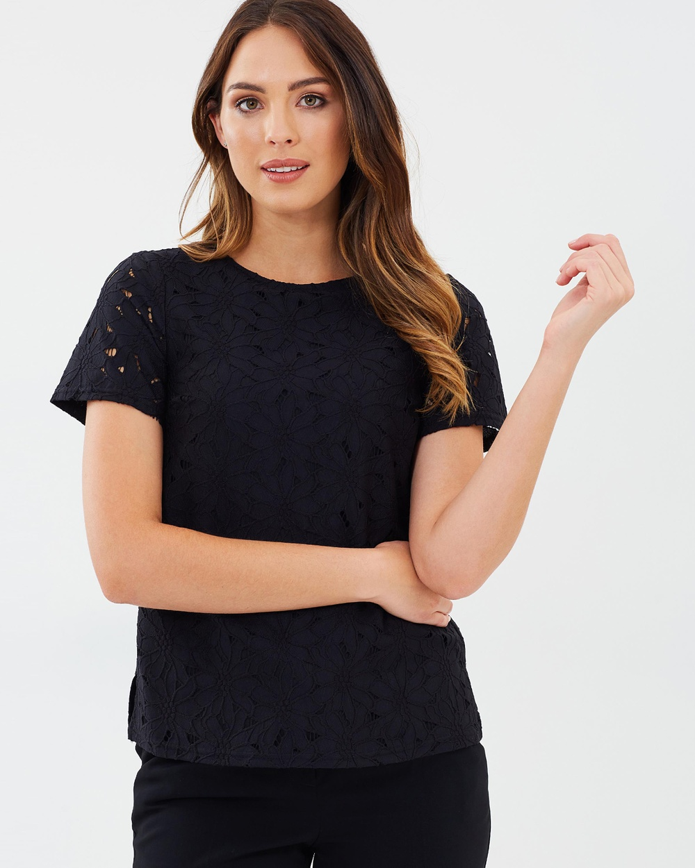 Dorothy Perkins Lace Tee Tops Black Lace Tee