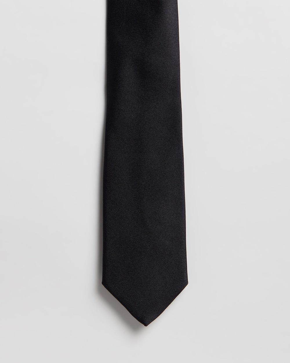 Gieves and Hawkes Plain Silk Tie Ties Black Ties Australia