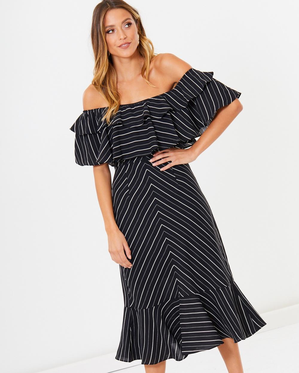 Calli Carlotta Off Shoulder Dress Dresses Black Stripe Carlotta Off-Shoulder Dress
