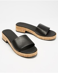 AERE - Leather Single Strap Cork Mules