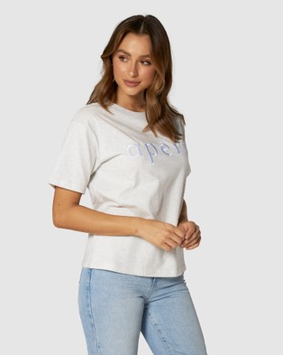Apero Label - La Mode Embroidered Tee Short Sleeve T-Shirts (Grey)