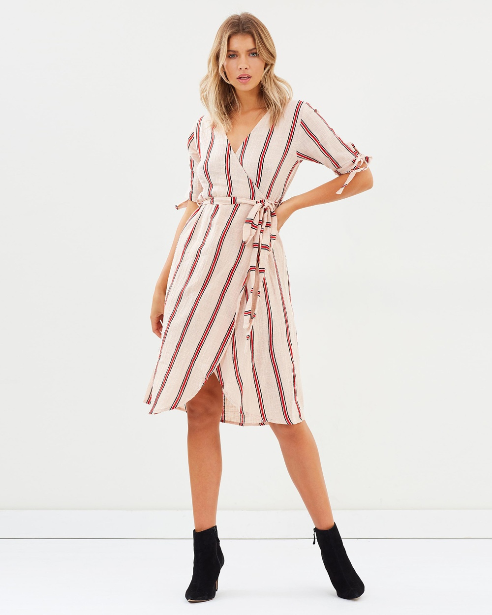 Rue Stiic Albany Wrap Dress Dresses Sand Red Stripe Albany Wrap Dress