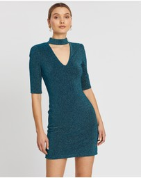 Alice & Olivia - Inka Strong Shoulder V-Neck Dress