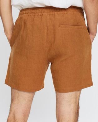 AERE Linen Pull On Shorts - Shorts (Rust)