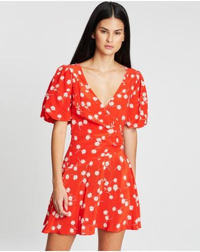 Bec + Bridge White Daisy Wrap Mini Dress Red Floral