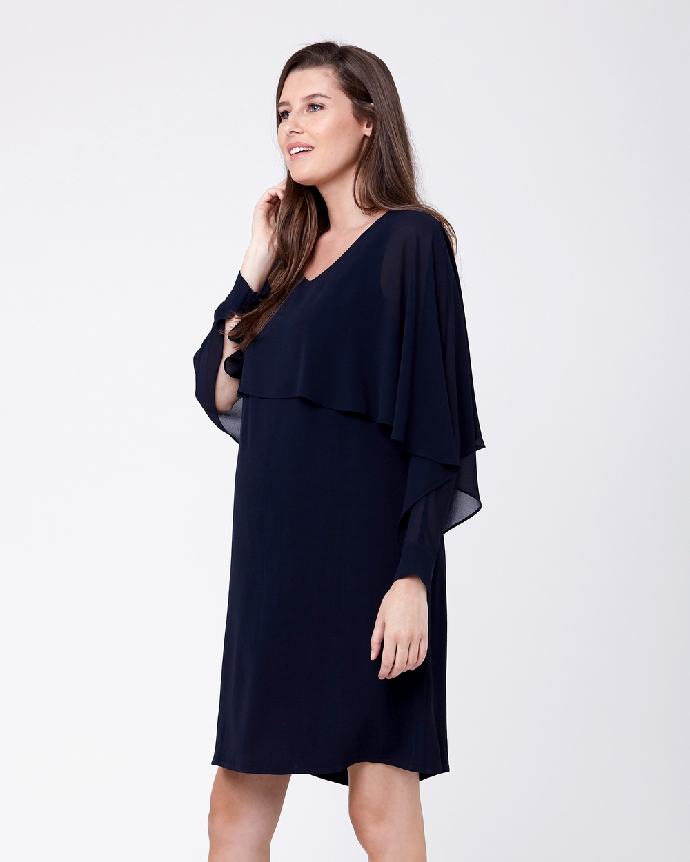 Ripe Maternity Double Layer Nursing Dress Dresses Navy Double Layer Nursing Dress