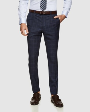 Oxford Hopkins Wool Checked Trousers - Suits & Blazers (Blue)