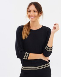 Marcs - Lurex Trim 3/4 Sleeve Top