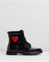LOVE MOSCHINO - Patent Lace-Up Ankle Boots