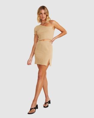 Alice In The Eve Ali Rib Knit Mini Skirt Skirts BEIGE