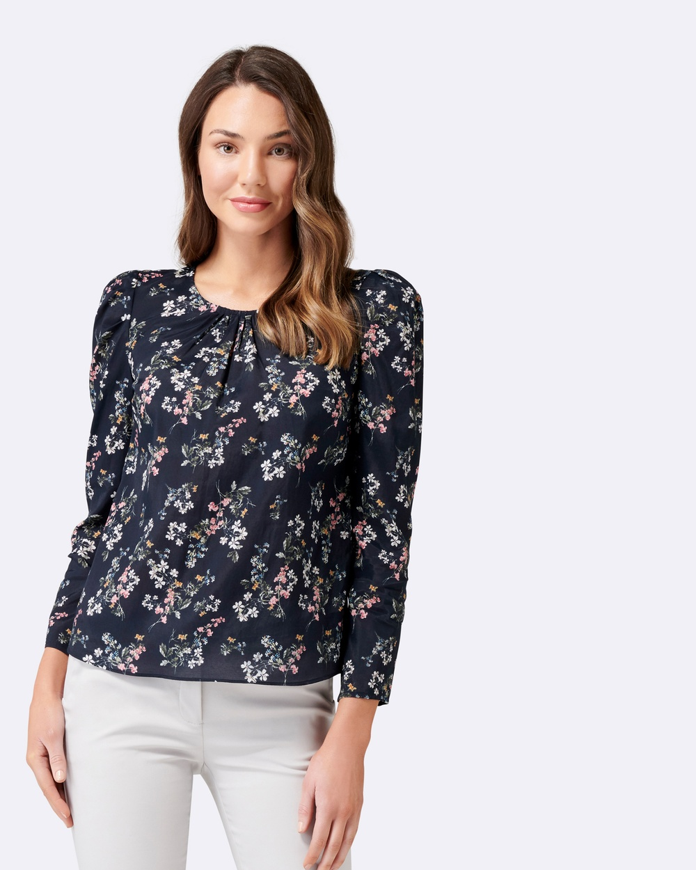 Forever New Tonya Tuck Puff Long Sleeve Blouse Tops Navy Meadow Print Tonya Tuck-Puff Long Sleeve Blouse