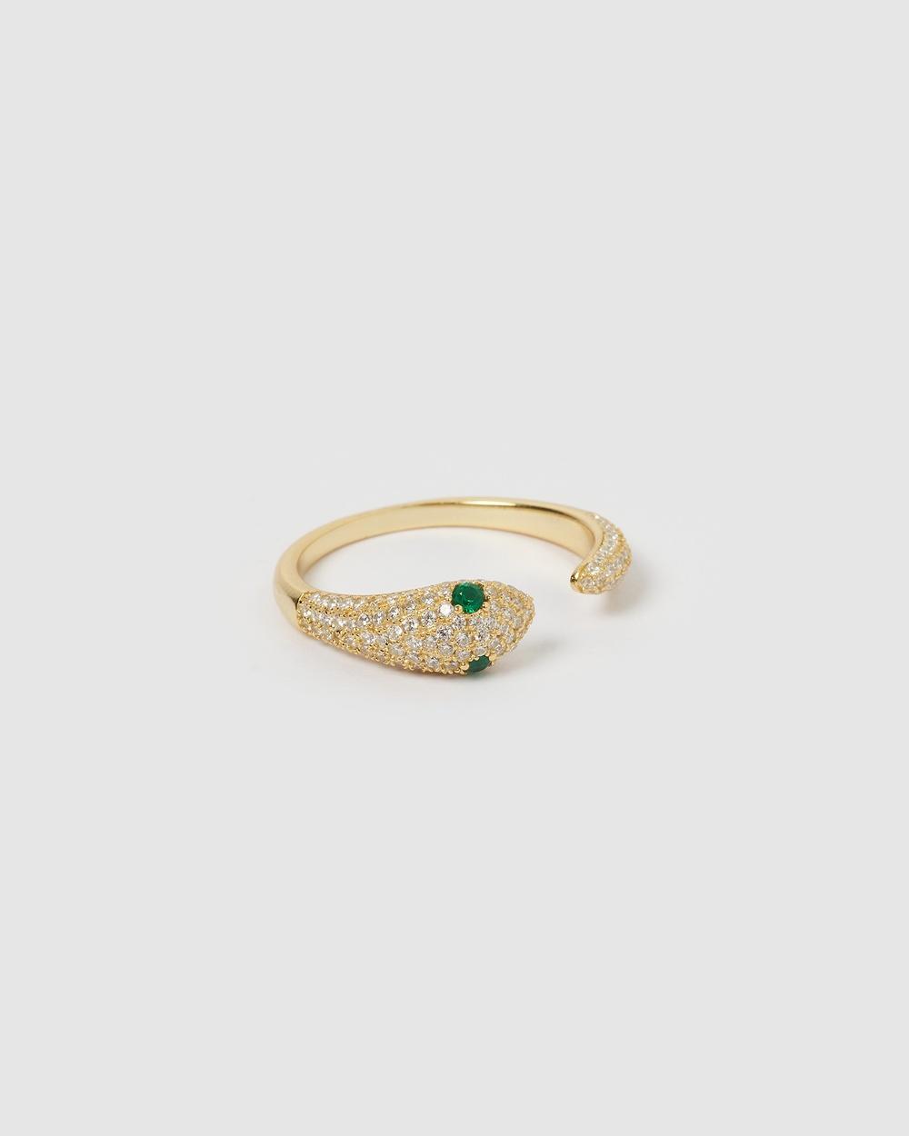 Izoa Green Eye Embellished Snake Ring Gold Jewellery Gold