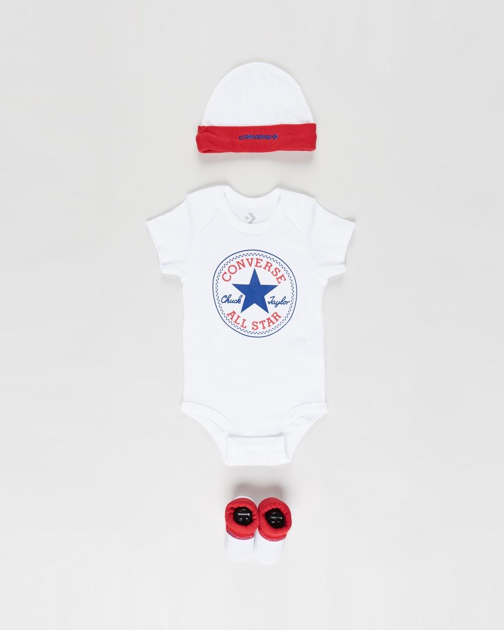 Converse Classic 3 Piece Infant Hat, Bodysuit & Bootie Set Babies Bodysuits Converse Red White 3-Piece