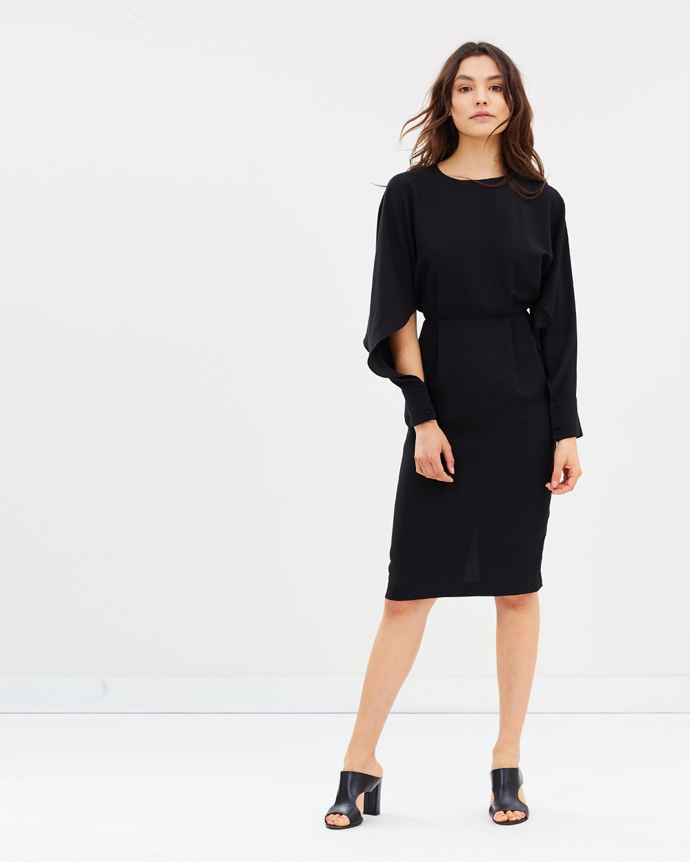 Warehouse Split Sleeve Wiggle Dress Dresses Black Split Sleeve Wiggle Dress