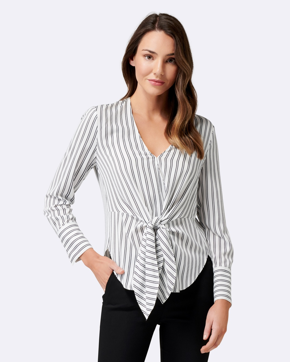Forever New Deborah Stripe Tie Front Blouse Tops White Base Ticking Stripe Deborah Stripe Tie Front Blouse