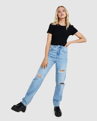 Neon Hart Goldie Open Back Rib Top - Tops (BLACK)