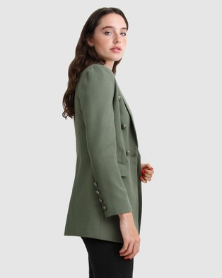 Belle & Bloom Princess Polina Textured Weave Blazer - Blazers (Military)