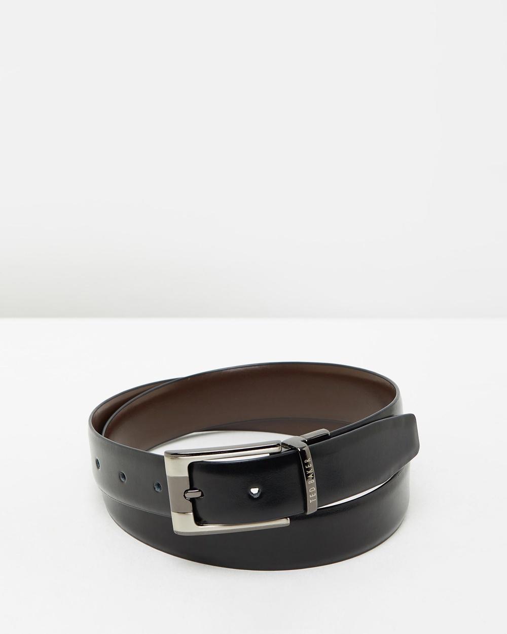 Ted Baker Crafti Reversible Leather Belt Belts Black