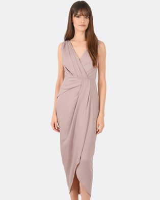 Forcast – Phoebe Draped Formal Dress Taupe