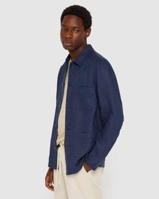 Jag Linen Workers Jacket - Jumpers & Cardigans (blue)
