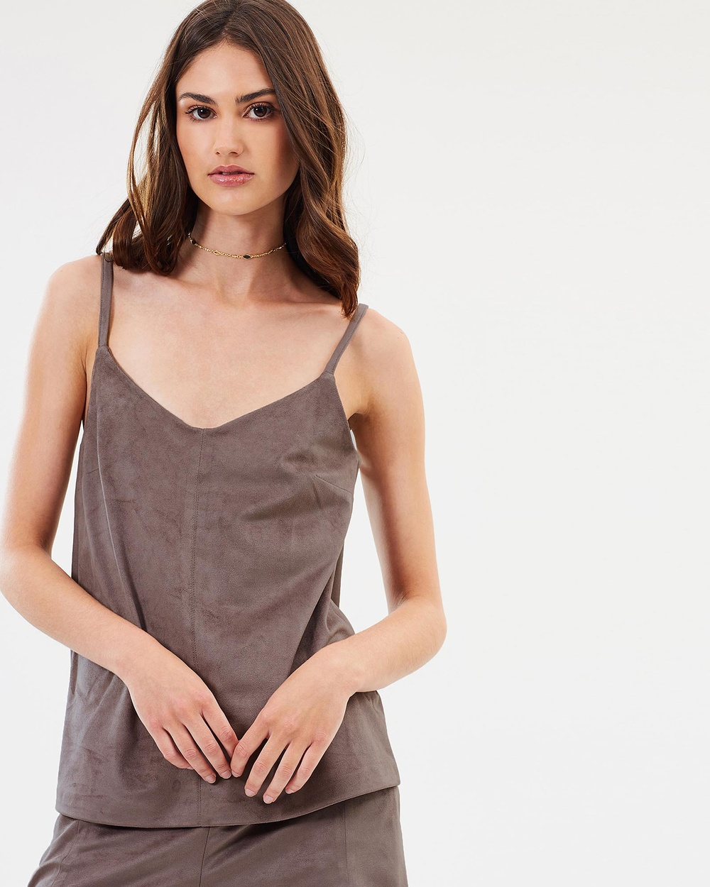 Unreal Fur Dancer Suede Cami Tops Brown Dancer Suede Cami