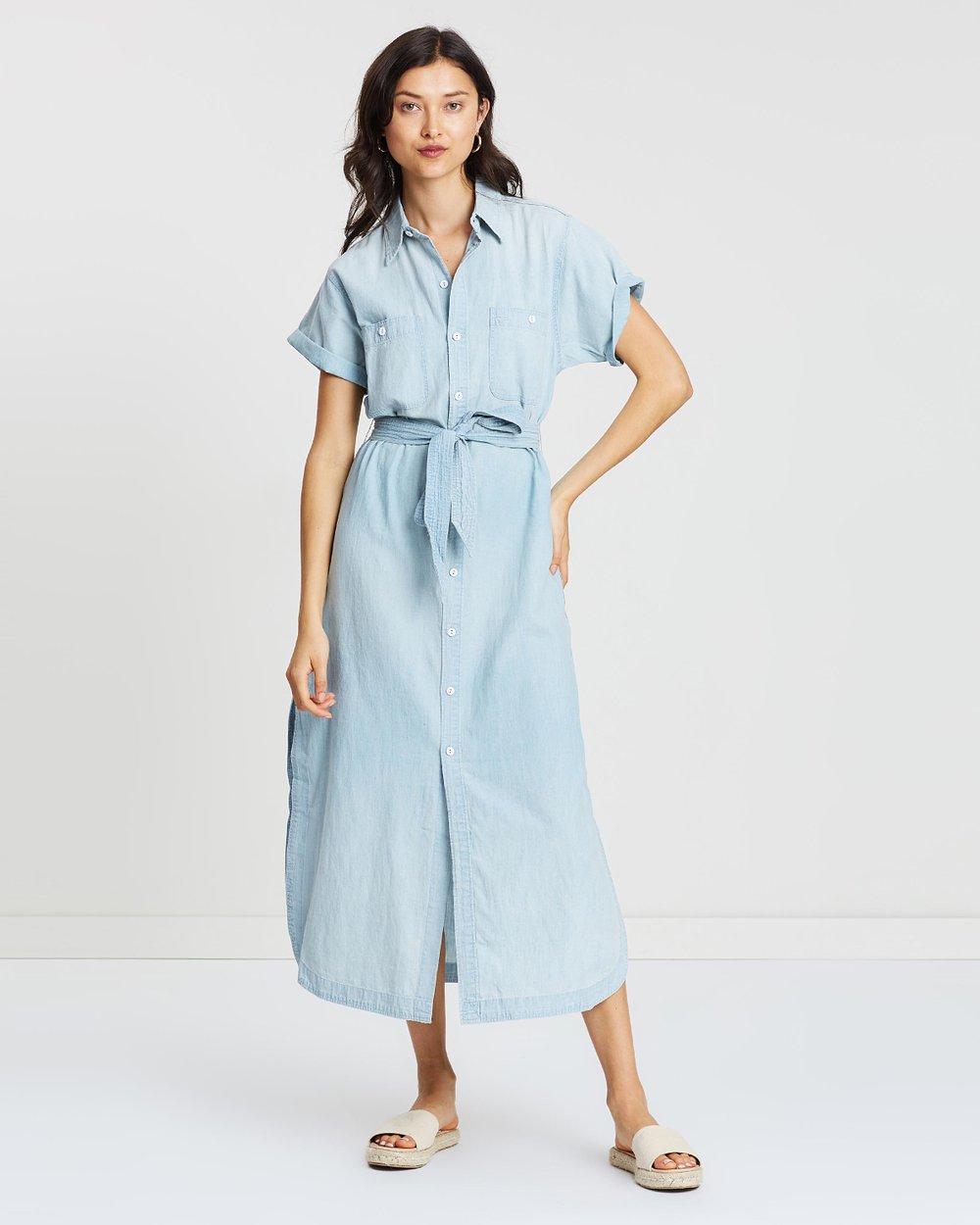 0022563f20 Denim Short Sleeve Maxi Dress by Polo Ralph Lauren Online | THE ICONIC |  Australia