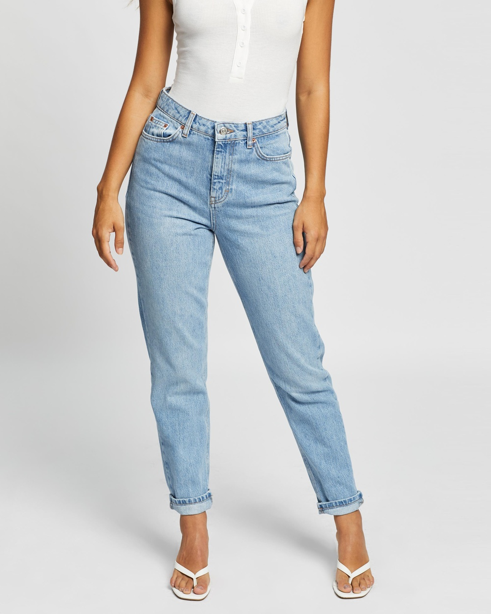TOPSHOP Bleach Mom Tapered Jeans High-Waisted Bleach Australia