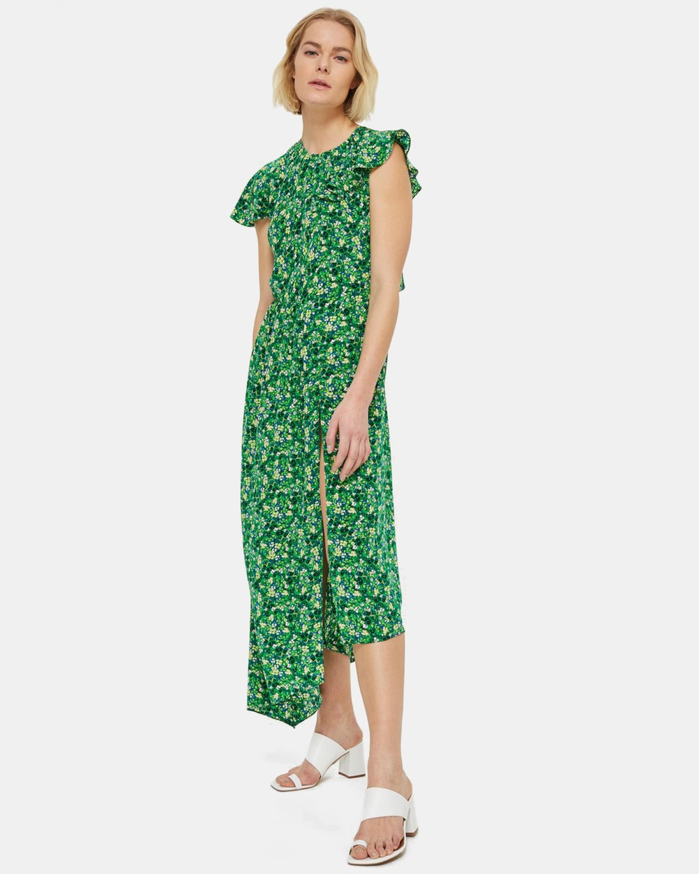 TOPSHOP Ditsy Deconstructed Midi Dress Printed Dresses Green Ditsy Deconstructed Midi Dress
