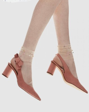 High Heel Jungle Pastel Pearl Sock - Socks & Tights (Nude Sheer)