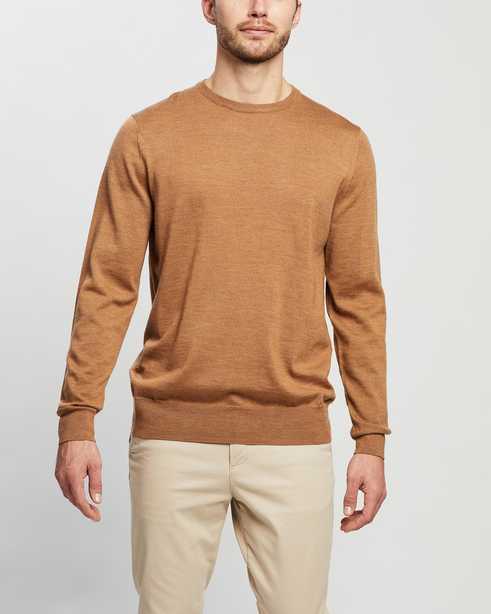 3 Wise Men The Mickey Merino Knit Jumpers & Cardigans Mole Brown