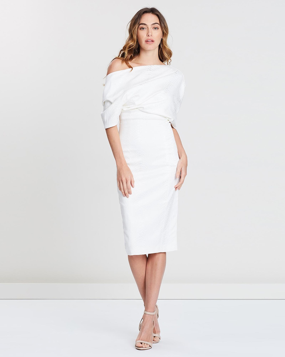 SANTINA-NICOLE White Freya Shawl Drape Dress