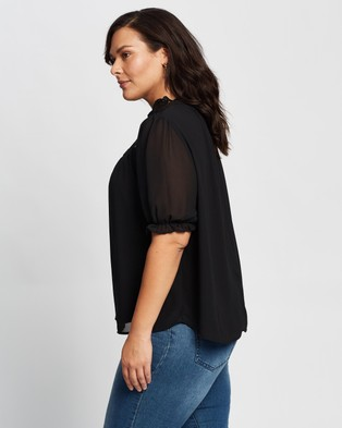 Atmos&Here Curvy - Coco Lace Trim Blouse Tops (Black)