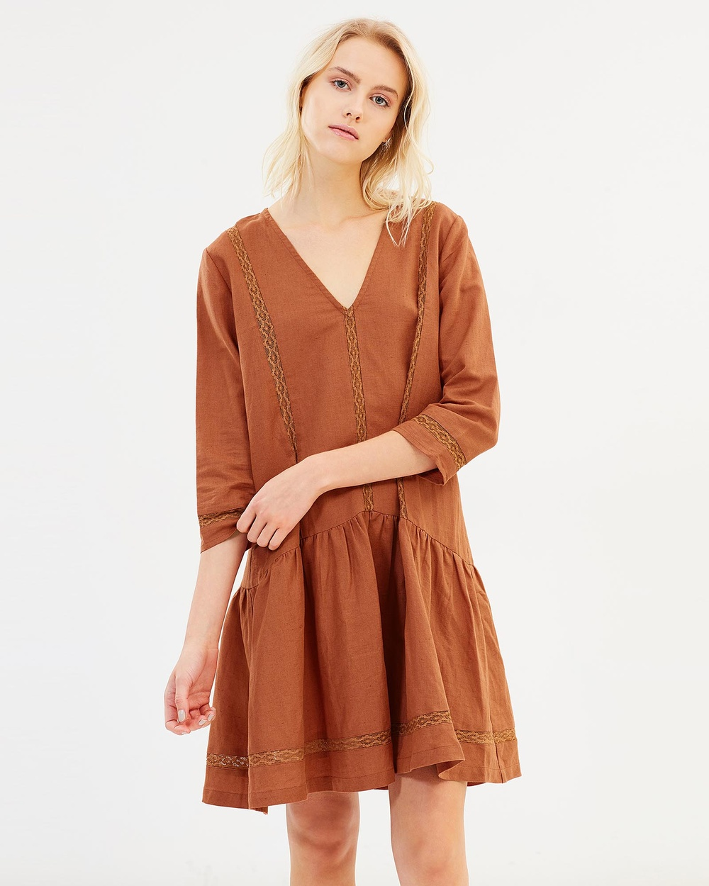 Ryder Emilia Linen Dress Dresses Rust Emilia Linen Dress